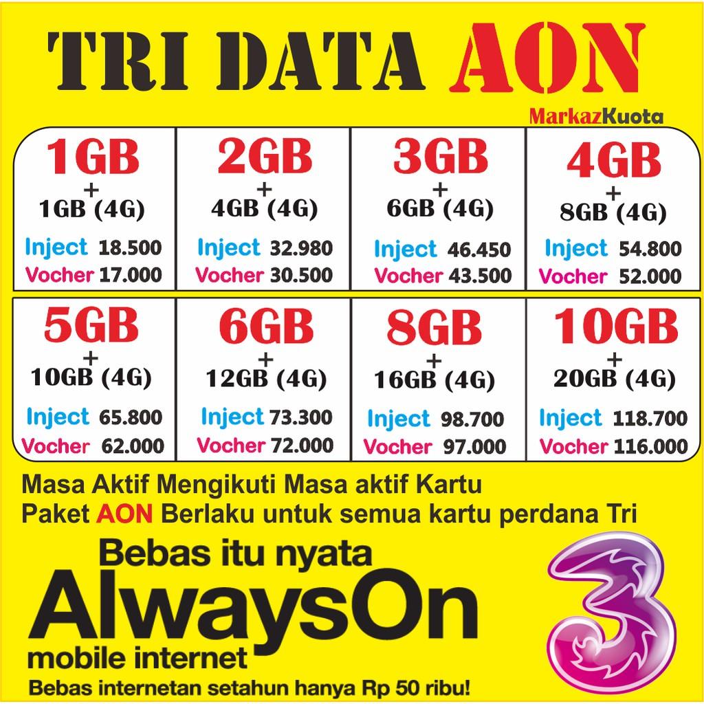 Inject Kuota Paket Data Internet Tri 3 Three Isi Ulang Aon Get 2gb 1gb Dan Extra More Netmax Cinta Elektrik Shopee Indonesia