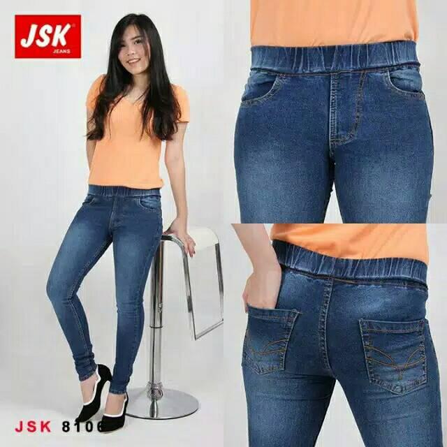 Celana Jeans Legging Pinggang Karet Cewek/Celana Modis Trendy By JSK/Celana Wanita/