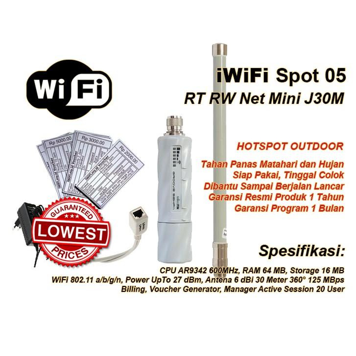 Paket Usaha RT RW Net Mini J30M WiFi Hotspot Siap Pakai (iWiFi Spot 05)