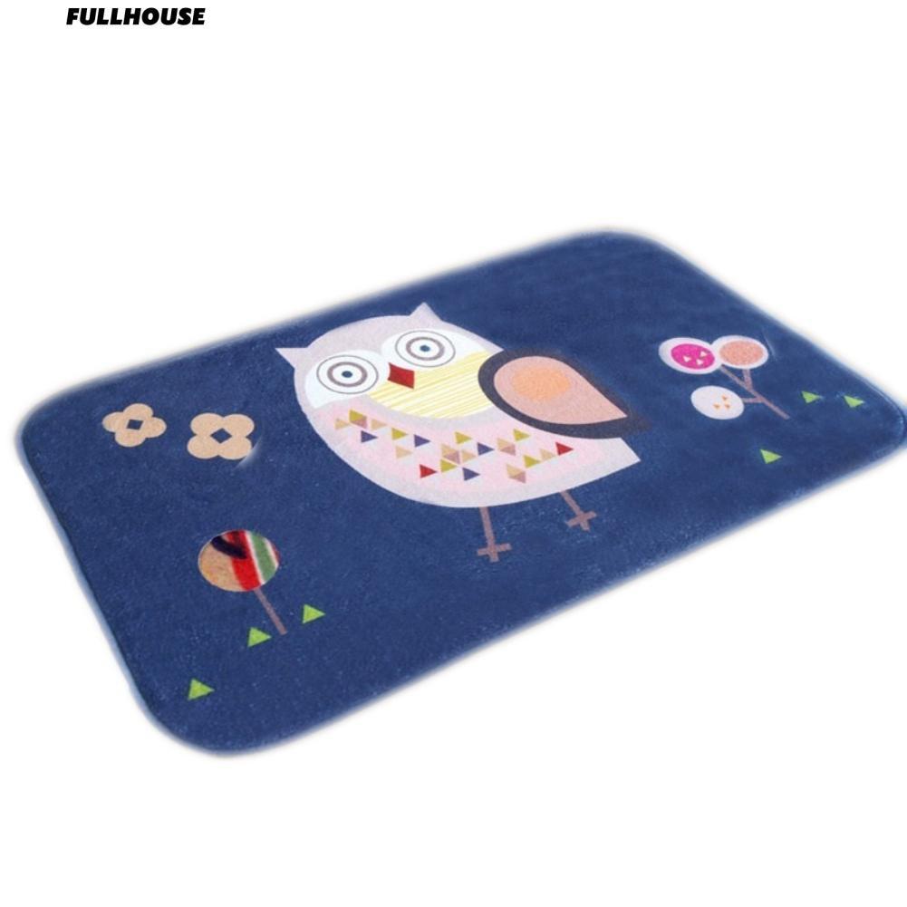 [Bayar Di Tempat] Lembut Kartun Lucu Owls Dicetak Keset Kamar Mandi Lantai Kamar Tidur Karpet
