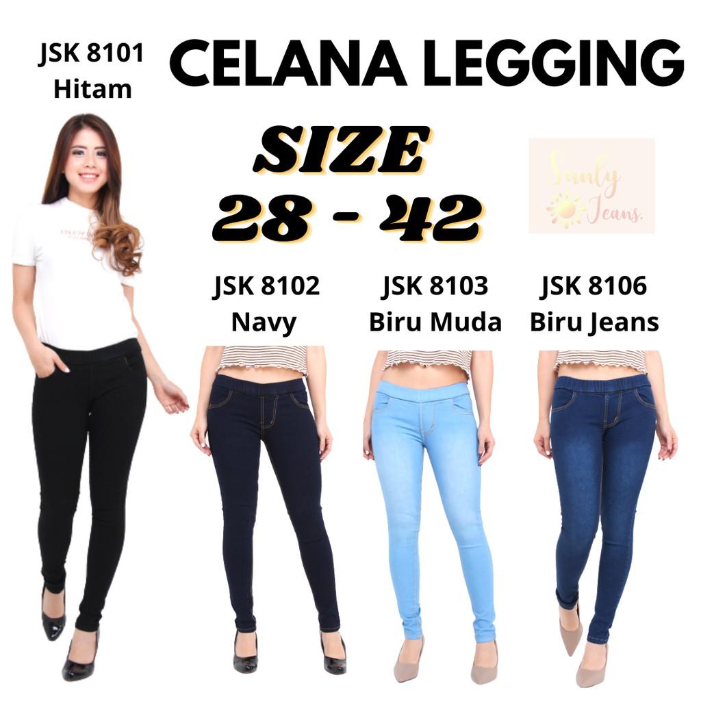 Celana Panjang Pinggang Karet Jeans Wanita Standar Big Size Jumbo Shopee Indonesia