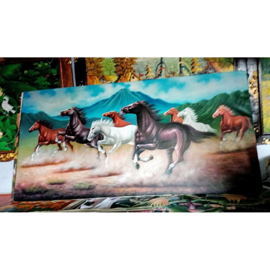Lukisan 8 Kuda 1m X 2m Feng Shui Kekayaan Berlimpah Pembawa Rejeki2