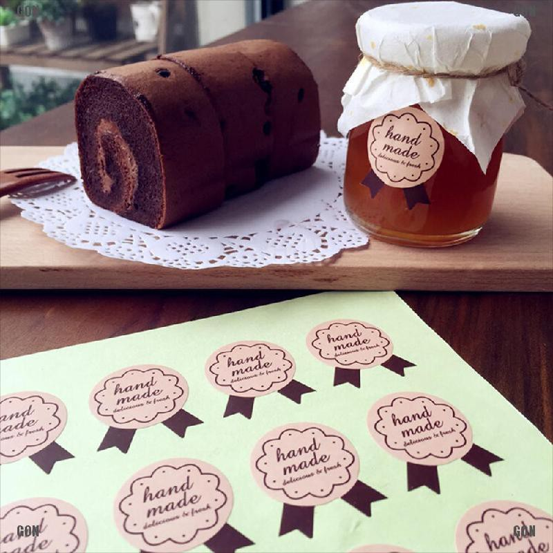 120Pcs Handmade Paper Stickers Labels Seal Craft Gift Food Cookie Decal Party