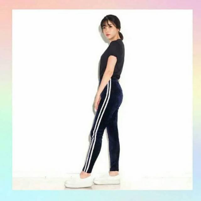 Legging Velvet Import Celana Bludru Wanita Import Stripe Garis 2 Terlaris Shopee Indonesia
