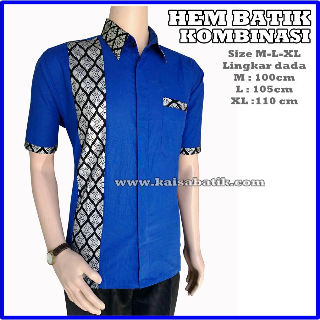 Baju Batik Pria Kombinasi Polos Warna Biru