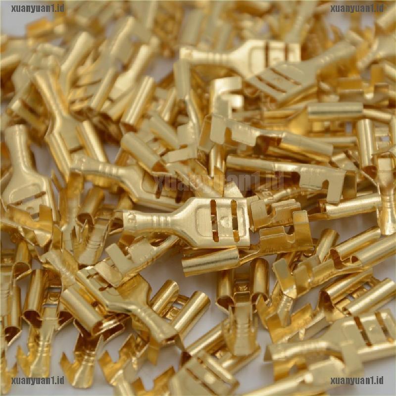 100Pcs 6.3mm Gold Brass Car Speaker Female Spade Terminal Wire Connector SU