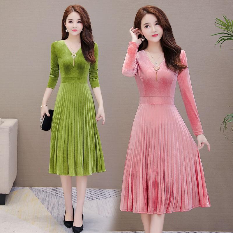 Lady Autumn Party Dress Fashion Velvet Vintage Women Wedding Evening Slim Skirt Shopee Indonesia