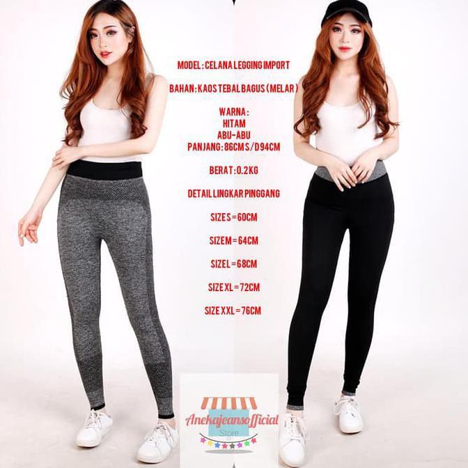 Legging Sport Wanita Celana Legging Import Bahan Kaos Tebal Melar Hitam M Promo Shopee Indonesia