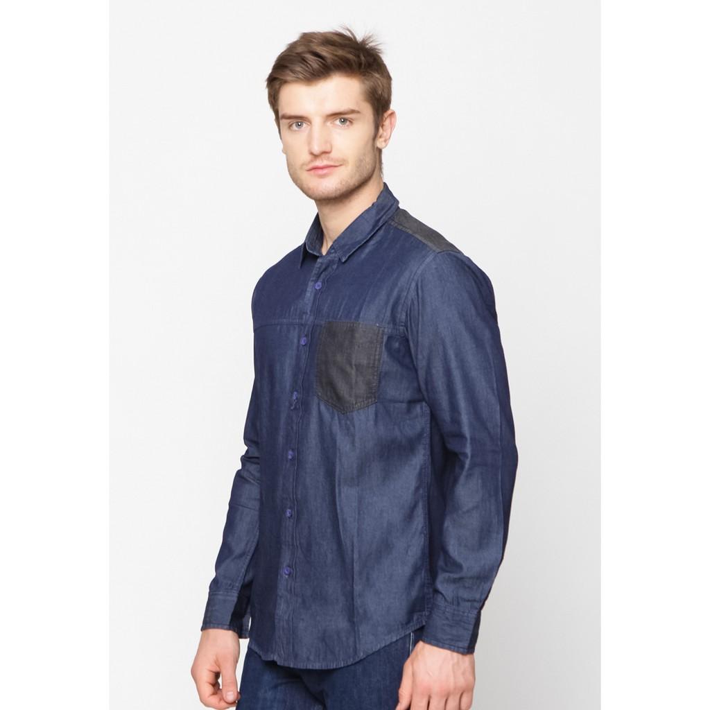 Celcius Upwash Denim Shirt B3093c Shopee Indonesia Cottonology Vintage Wash Blue Biru S