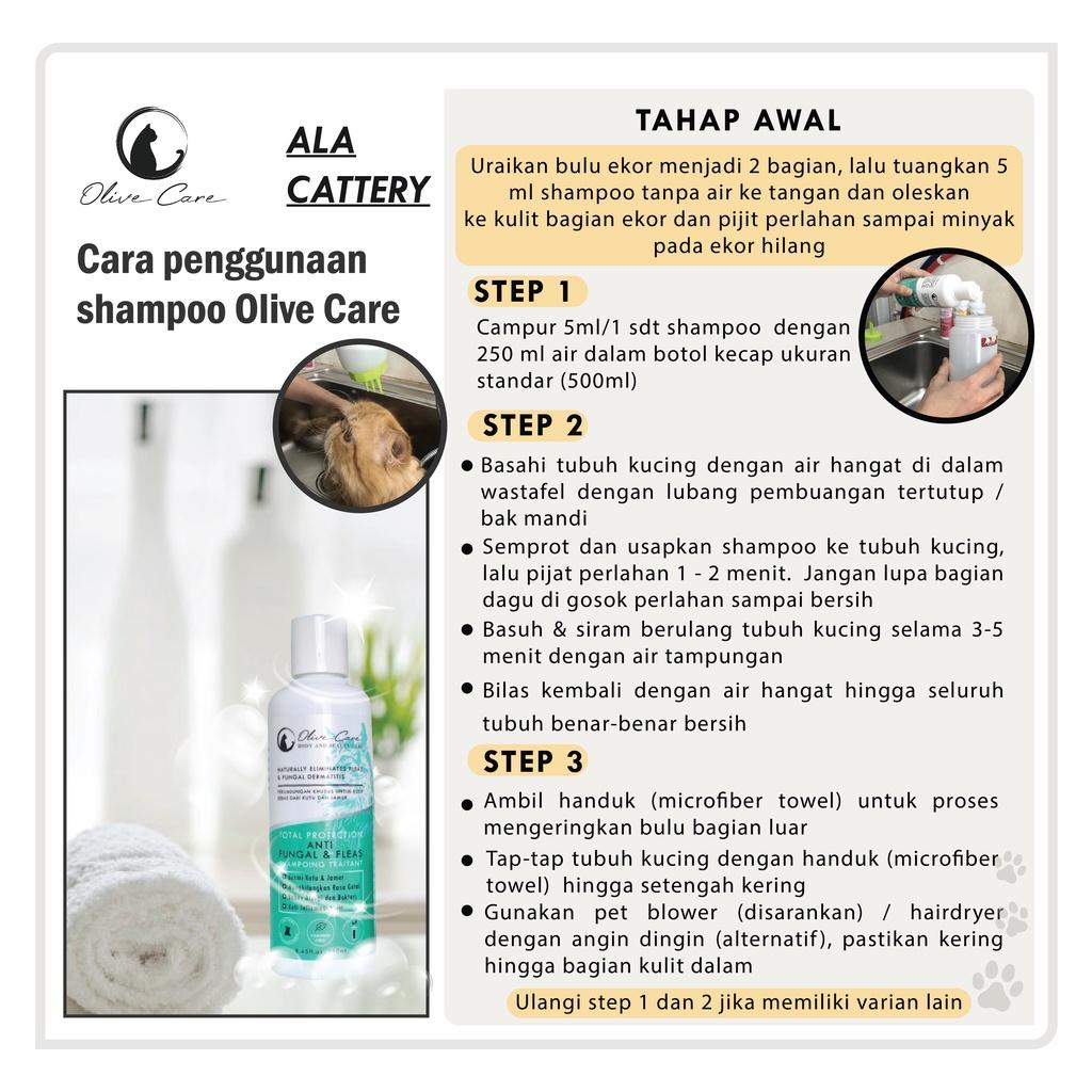 Olive Care Shampo Kucing Total Protection ANTI FUNGAL & FLEAS - Basmi Jamur dan Kutu-2