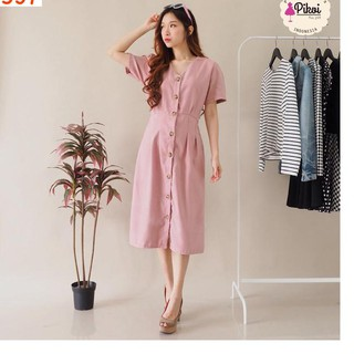 Terbaru Maxi Dress Button Dress Kancing Bangkok Dress Wanita