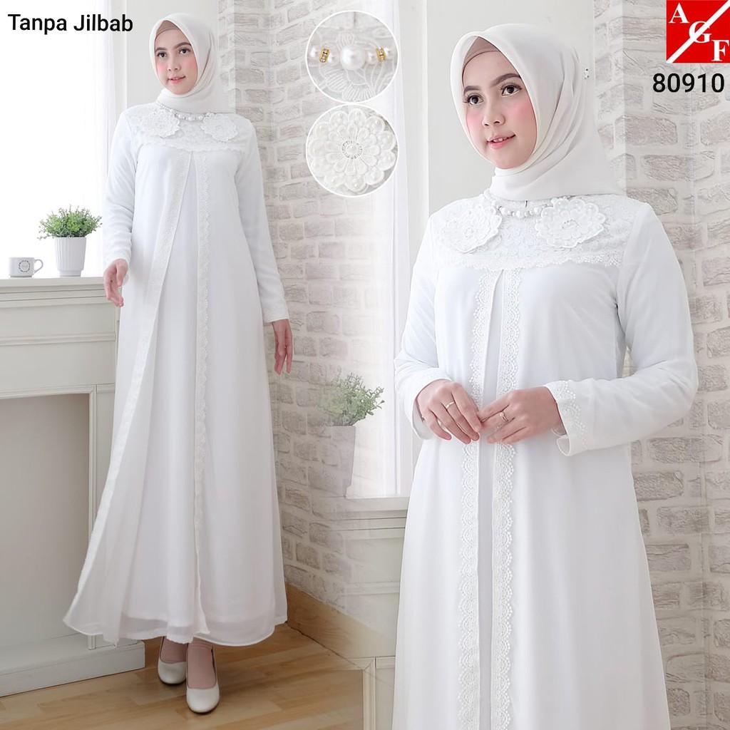 SALE Baju Gamis Wanita Brukat Gamis Putih Lebaran