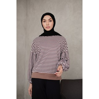 Balloon Stripe Wrinkle Tops By Mybamus Official For Flashsale