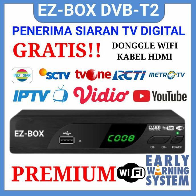 Set Top Box Dvb-T2 Ez-Box Early Warning Sistem Ews Tv Digital Youtube - Free Donggle Termurah