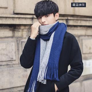 Mens Navy Luxury Classic Knitted Tasseled Plain Design Woolen Winter Boys Scarf