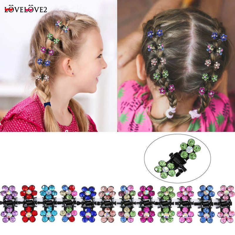 50 PCS Kids Baby Plastic Girls Hairpins Mini Claw Hair Clips Clamp Flower LY