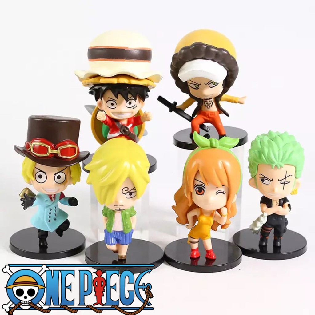 Action Figure One Piece Stampede Luffy Zoro Sanji Sabo Nami Law Q Version Set 6 Pcs Topper Cake Shopee Indonesia