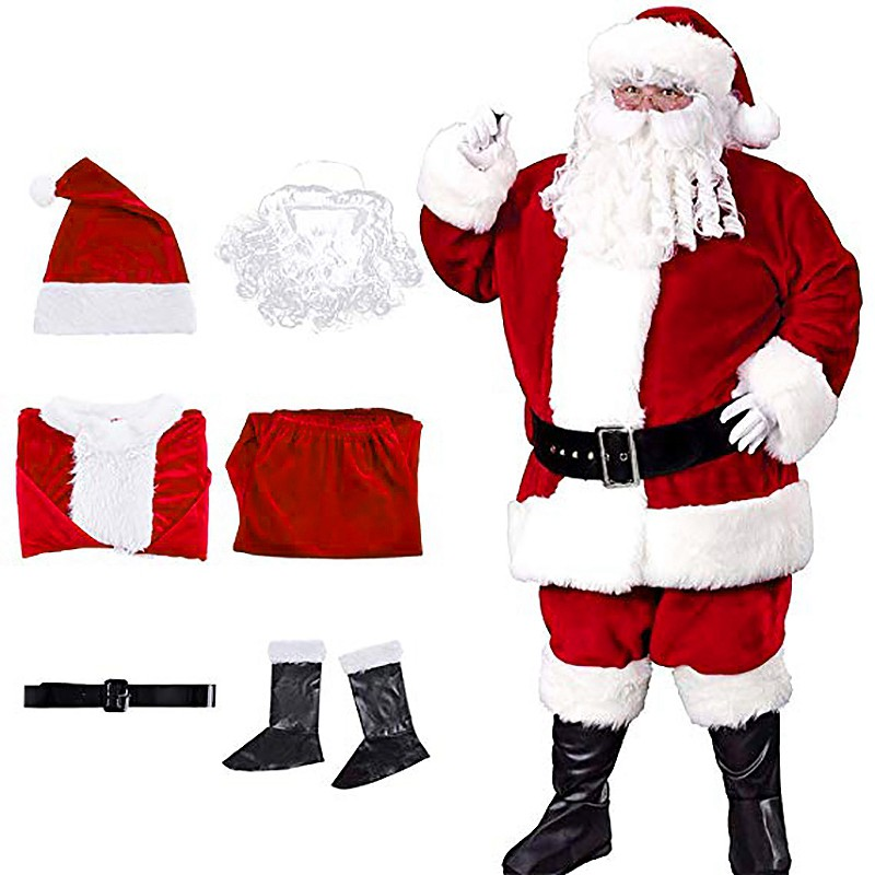 Hot Sale Santa Claus Costume Christmas Santa Suit Gold Velvet Santa Suits For Adults Santa Costume Six Pieces Shopee Indonesia