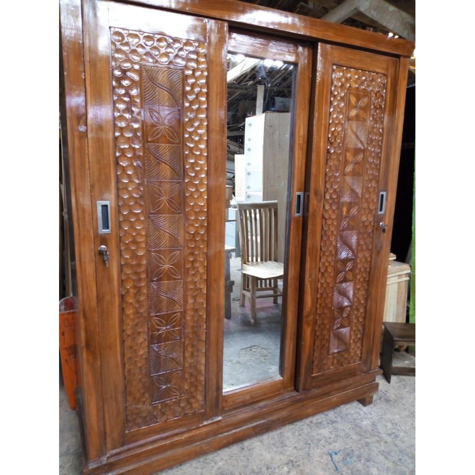 Super Hot Lemari Pakaian 3 Pintu Sliding Kayu Jati Asli Shopee Indonesia Lemari pakaian kayu jati