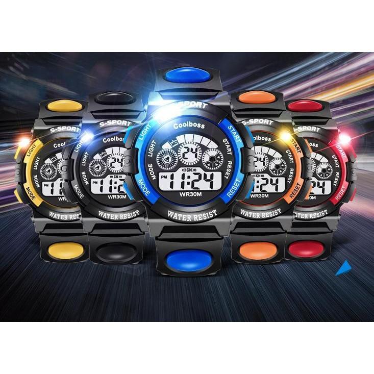 Fashion Pria: Jam Tangan Sport Digital LED Bahan Karet Anti Air dengan Tanggal+Lampu Malam