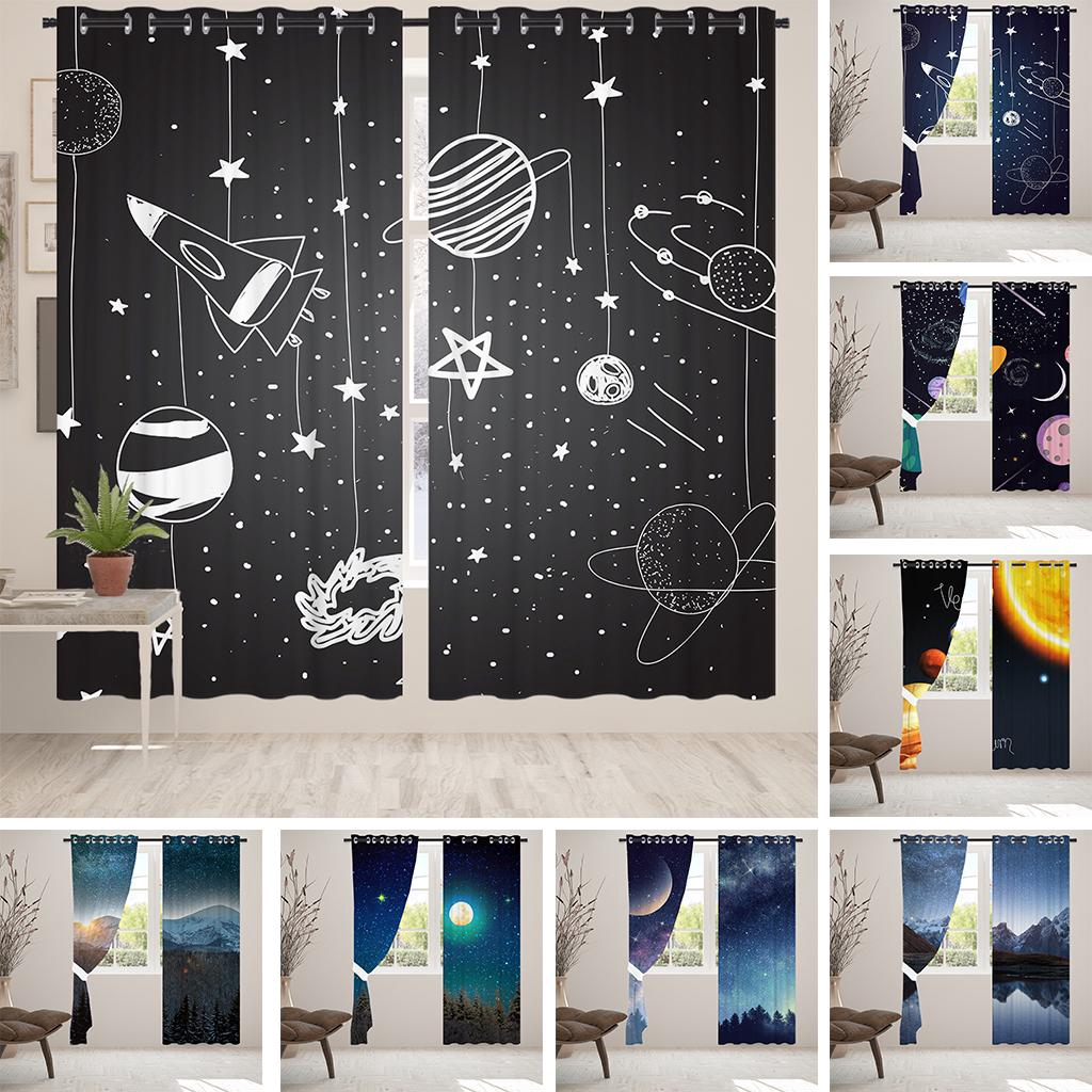 Night Starry Sky Print Blackout Window Curtains Living Room Kitchen Darkening Curtains Bedroom Curtains Shopee Indonesia