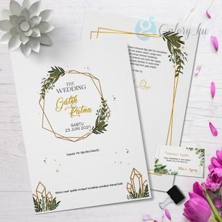 Kartu Undangan Pernikahan Motif Bunga Floral Flower Hijau Cantik Lucu Simple Murah Tebal Shopee Indonesia