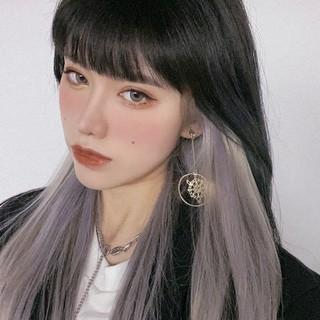 Wig Wanita Rambut Lurus Panjang Wig Hitam Abu-abu Gradien Rambut Lurus Panjang JK Wig thumbnail