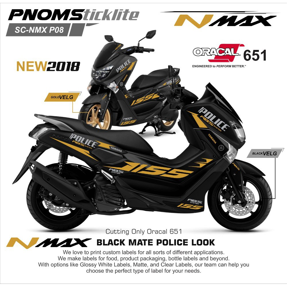 Cutting sticker yamaha nmax 2018 hitam gold grafik glossy matt shopee indonesia