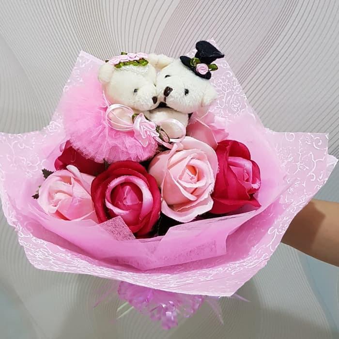 Buket Bunga Mawar Biru Sabun Gift Kado Valentine Bouquet Roses 5 Soap | Shopee Indonesia