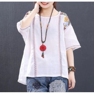 Casual Summer Floral Mens Shirt Ethnic Chinese Embroidery Tops Cotton T-Shirt Sz