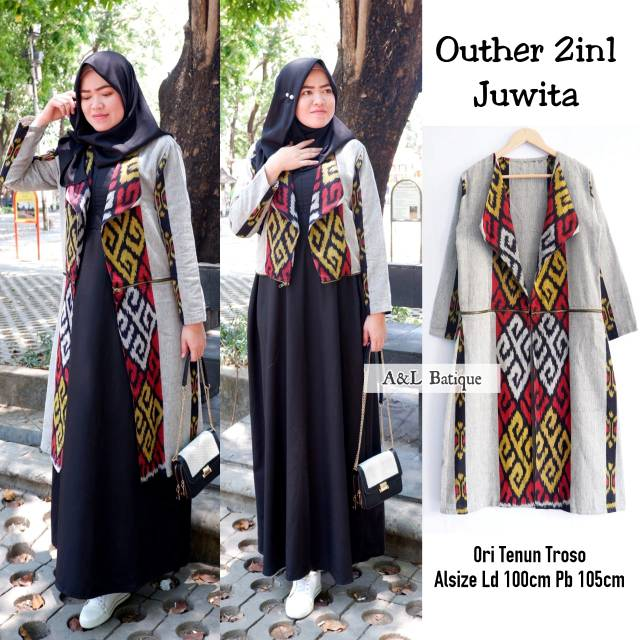 Outher 2in1 Juwita Outer Ori Tenun Troso Bisa 2 Model Long Outer Tenun Cardi Tenun Jepara Shopee Indonesia