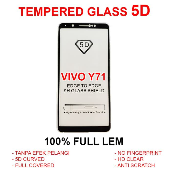 Anti Gores Kaca Pelindung Layar HP Full 3D 4D Vivo Y71 TEMPERED GLASS 5D | Shopee Indonesia
