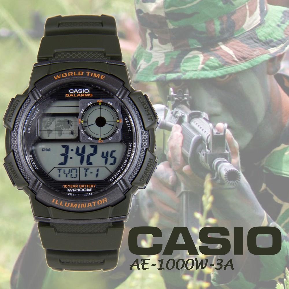 Casio Jam Tangan Pria Ae 1000w 1a3vdf Hitam Gold Karet Shopee Analog Digital Strap Aeq 110bw 9a Indonesia