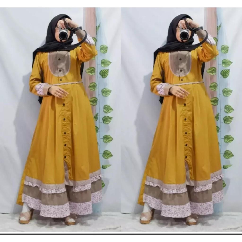 Baju Pakaian Busana Muslim Gamis Tunika Wanita Bahan Katun Toyobo Terbaru