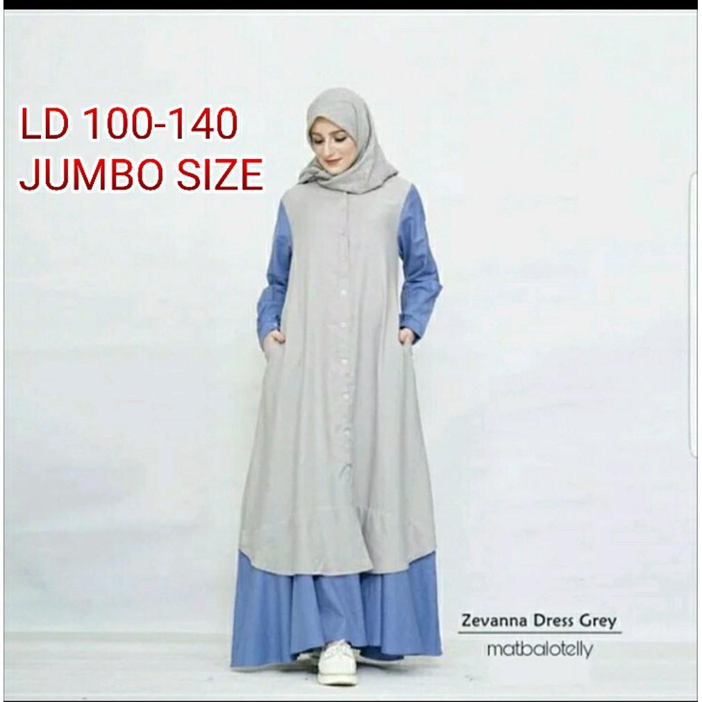 Jual Gamis Jumbo Ukuran Besar sampai LD 11 Zevanna Dress yang Simple dan  Elegan banget Diskon