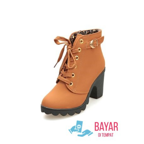 Sepatu Boots Wanita Kulit Sintetis   Boot Formal Cewek Coklat Hitam ... 8399cd0cd8