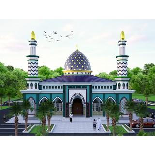 gambar kerja desain masjid ukuran 20x20 ( 1 lantai