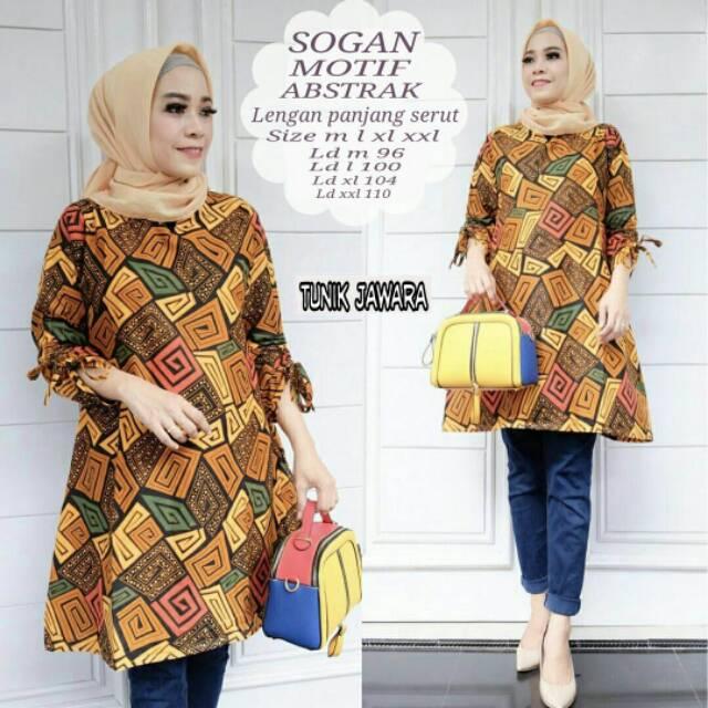 Baju Batik Tunik Lengan Serut Baju Wanita Baju Pesta Murah Shopee