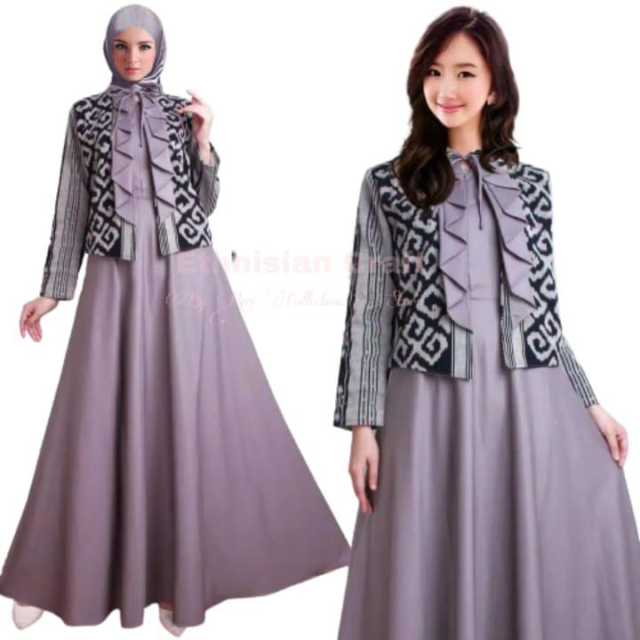 Cod Gamis Tenun Kombinasi Bisa Custom Fashion Etnik Shopee Indonesia