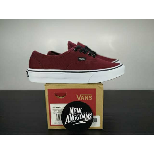 Sepatu Vans Authentic Port Royale Red Merah Maroon White Putih Dt