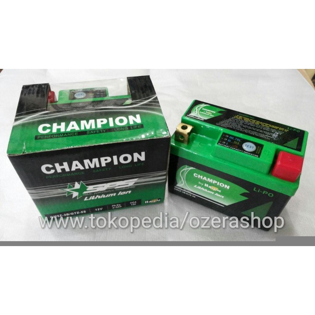 Aki Motor Suzuki Satria R Accu Lithium Ion Champion Haijiu Kering Untuk Supra F Vario Beat Shopee Indonesia