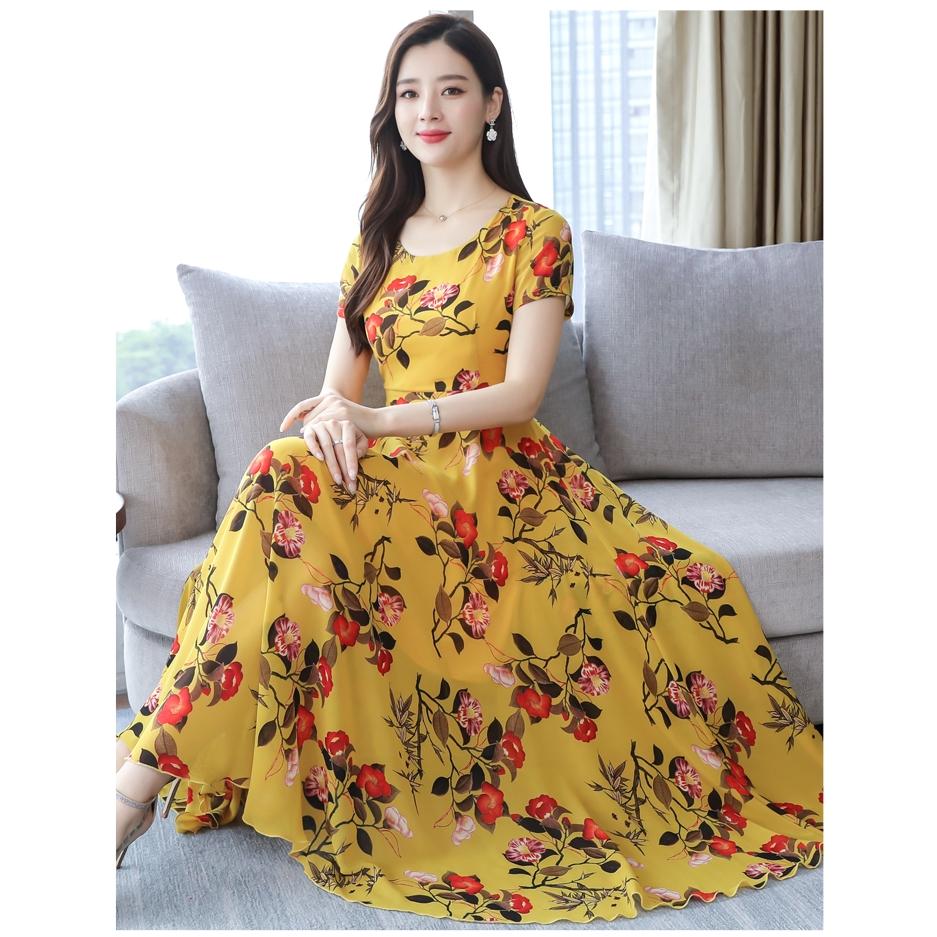 dde2e156a Sleeveless Floral V-neck Chiffon Women Dress Midi Dresses | Shopee Indonesia