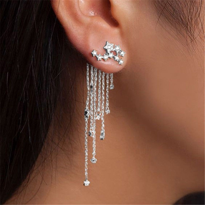 Beauty Gadis Lucu Bintang Berujung Lima Anting Menjuntai Panjang Linear Ear Rings Drop   Shopee Indonesia