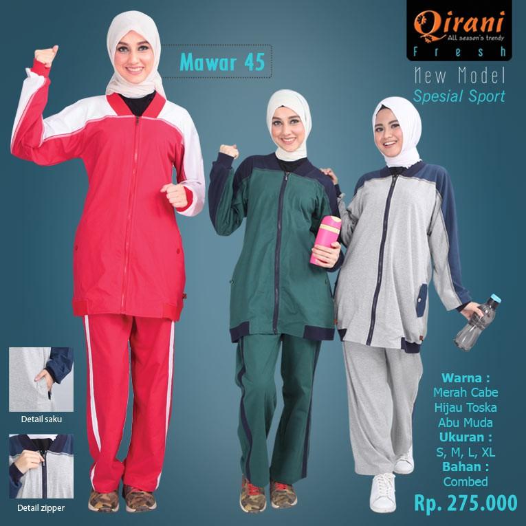 Setelan Baju Olahraga Wanita Muslim Qirani QDF Mawar 47 / Baju Senam | Shopee Indonesia