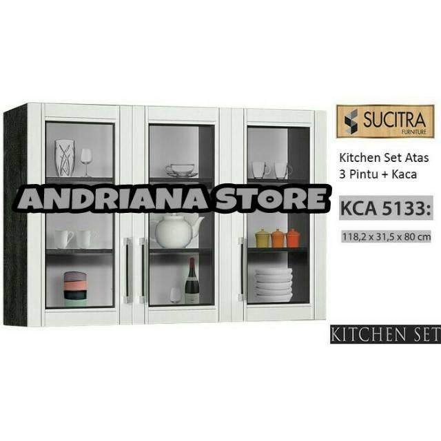 Kitchen Set Atas Lemari Gantung Dapur Anata 3 Pintu Kaca Free