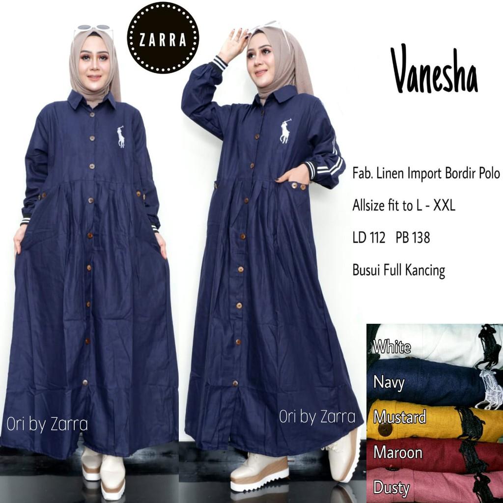 realpict VANESHA (ld 112) linen bordir ori busui lengan panjang long maxy dress muslim