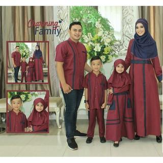 Sarimbit Couple Baju Muslim Keluarga Seragam Koko Gamis Ayah Ibu Anak Terbaru murah