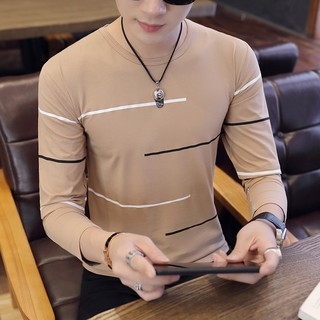 Lengan Panjang Pria T-Shirt Musim Gugur Leher Bulat Tipis Cetak Bottoming Kemeja