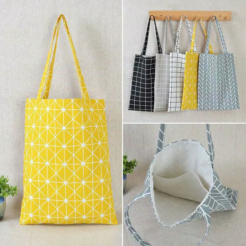 HALO.BAG 249 Totebag Canvas Tas Bahu Tote Kanvas Eco Bahan Linen Motif Kotak | Shopee Indonesia