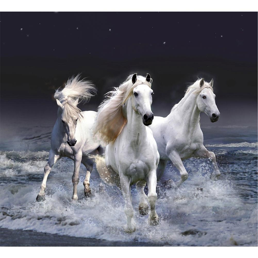 DIY Lukisan Diamond 5D Dengan Gambar Kuda Dan Hiasan Berlian Buatan Untuk Dekorasi Rumah